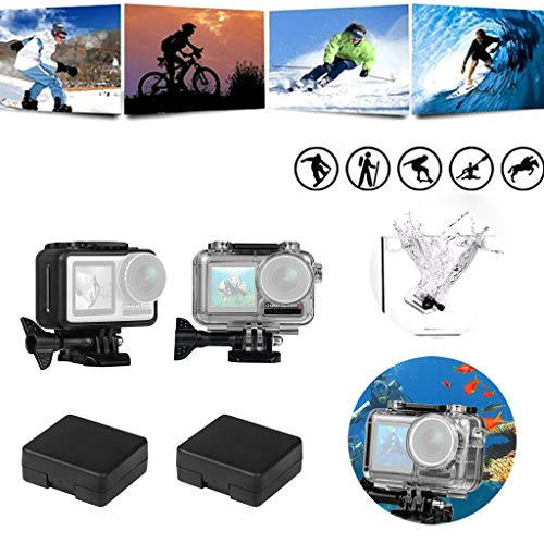 Kariwell New Sports Camera Waterproof Housing Case - Diving 45M Support Protective Border Shell for DJI Osmo Action [Including : 1X Waterproof Case 1X Protective Frame 2X Battery Case] ()