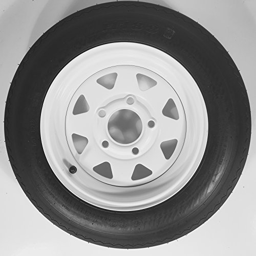 12 x 4 White Steel Spoke 5 Lug Trailer Wheel w/ 4.80-12 Trailer Tire LRC Package by TBC