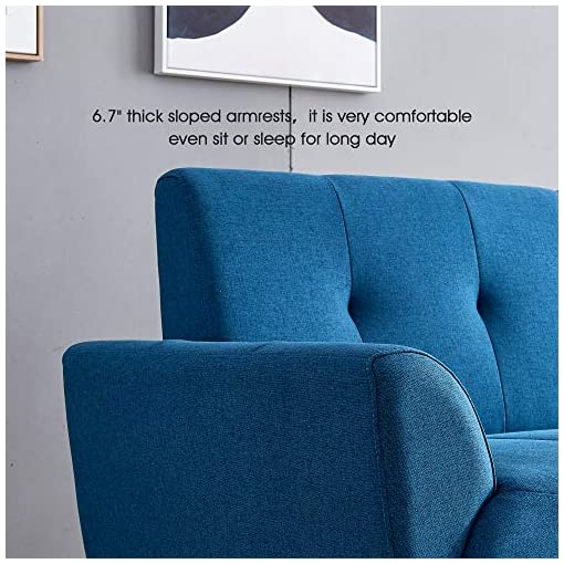 Living Room Ivinta Living Room Couch Sofa Linen Fabric Tufted Mid-Century Modern Bench Loveseat Sofa, 71 inch Small Sofa (Royal Blue… modern sofas and couches