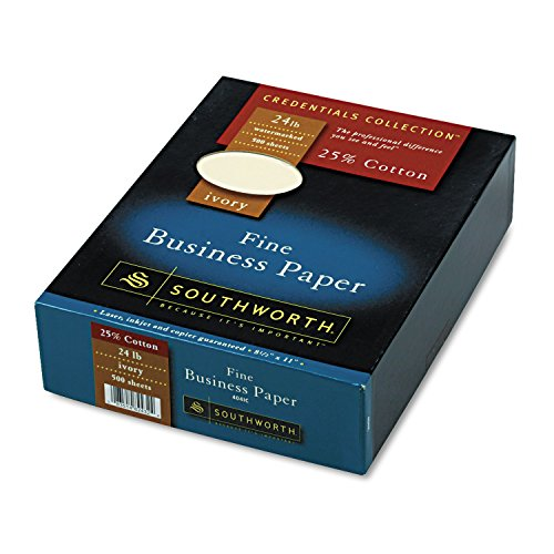 Southworth 404IC 25% Cotton Business Paper Ivory 24 lbs. Wove 8-1/2 x 11 500/Box FSC ()