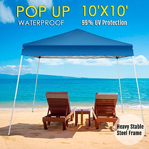 Yaheetech 10×10 Pop Up Canopy Tent Beach Sun Shade Easy Up Instant Shelter with Carrying Bag Blue