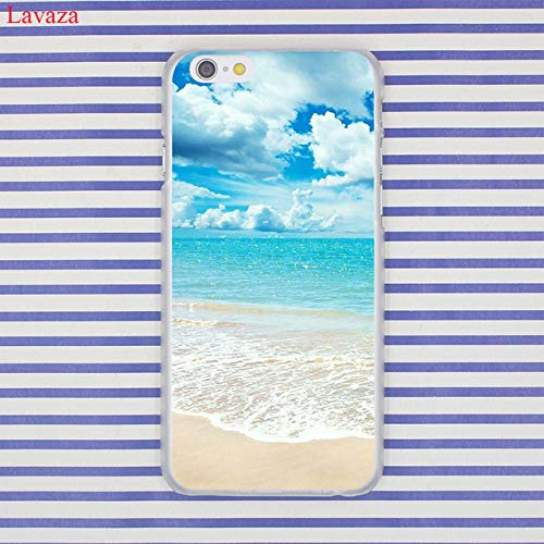MISC Blue White Beach Theme iPhone 7 Case Seaside Tropical I 8 Cover Seaside Coastal Nautical Vacation Resort Pattern Waves Clear Salt Water, Plastic