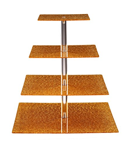 Eglaf 4-Tier Acrylic Glass Square Gold Cupcake Stand Cakes and Desserts Display Tower/Food Display Platter for Wedding Party (4-Tier-Square-Gold)