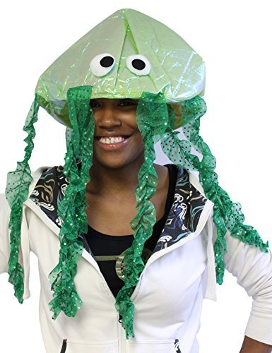 Costume Accessory -Iridescent Novelty Jellyfish Hat (One size fits most) (Green) (Spongebob Costume For Women)