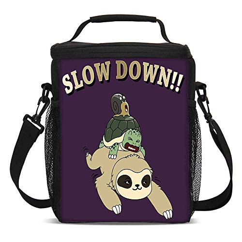 Sloth Fashionable Lunch Bag,Funny Cartoon Scenery with Sloth Turtle Snail on Top of Each Other Slow Down Phrase Decorative for Travel Picnic,One size