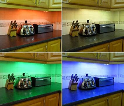 Ossun Colour Changing Rgb Led Kitchen Under Cabinet Lighting Set Includes 4 X 50cm Led Strips Wireless Controller Supply Fantastic Led