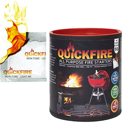 ( QuickFire - FireStarters Voted #1 Camping & Charcoal BBQ Fire Starter. Burns up to 10 Min at over 750° - 100% Waterproof, Odorless And Non-Toxic - 50 Pack)