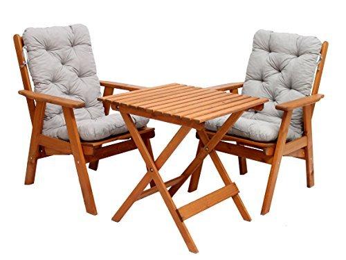 GARDENho.me 5tlg. Balkonset Varberg Braun 65x65 cm verstellbarer Hochlehner Stuhl inkl. graue Kissen und Klapptisch