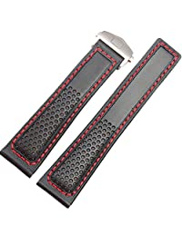 NEW 22mm Black Leather Watch Strap Red Stitching fit Tag Heuer Strap Deployment Clasp Carerra Monaco (Silver Clasp)