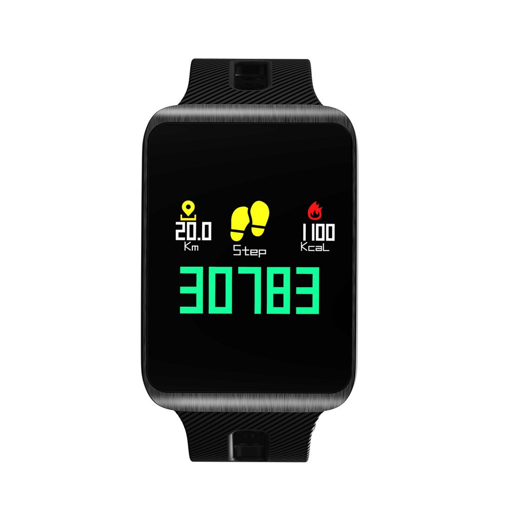 Glumes Smart-watch, Bluetooth Heart Blood Pressure Test Heart Rate Monitor Sports Wrist Waterproof Kids Health Monitor Exercise Activity Tracker Watch Pedometer Calorie Call SMS Camera Music (Black)
