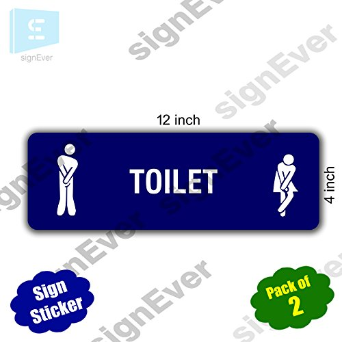 SIGN EVER Toilet Signage Sign Sticker for Glass Door Wall – Hotel Hospital Mall Office Commercial Blue Vinyl Decal 30x10cm (2 Pack)