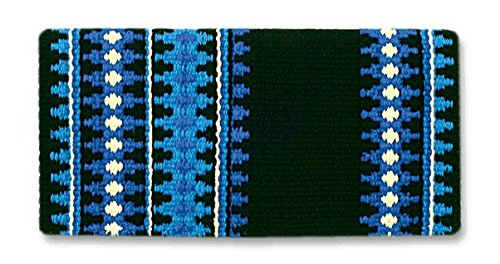 Mayatex Catalina Saddle Blanket, Black/Royal/Periwinkle/Cream, 38 x - Saddle Blanket Pad