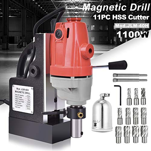 SuxiDi 1100W 1.5 Inch (40mm) Boring Diameter MD40 Magnetic Drill Press Machine 2925 LBS Portable Magnetic Force Magnetic Drilling System 700 RPM with 11 Pcs HSS Annular Cutter Kit