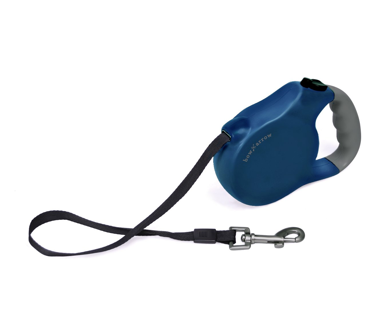 Bow & Arrow Blue Retractable Dog Leash for Dogs Up To 90 lbs With Easy To Use Push Button Brake and Release, Extends 24 Feet Long
