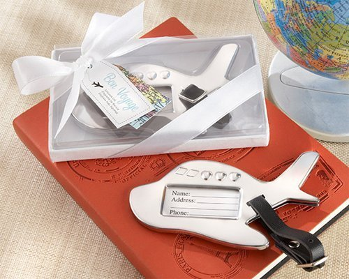 Bon Voyage Silver-Finish Airplane Luggage Tag [SET OF 24] by Kate Aspen, Inc. Wedding Favors