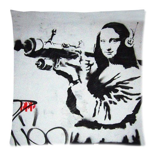 YVSXO Banksy Graffiti Work Background Printed Soft Cotton and Cotton Pillow Case//Cushion Case//Pillow Slip//Cushion Cover-Size:18x18 Inch