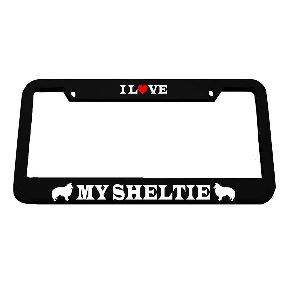 I Love My Sheltie License Plate Frame Tag Holder