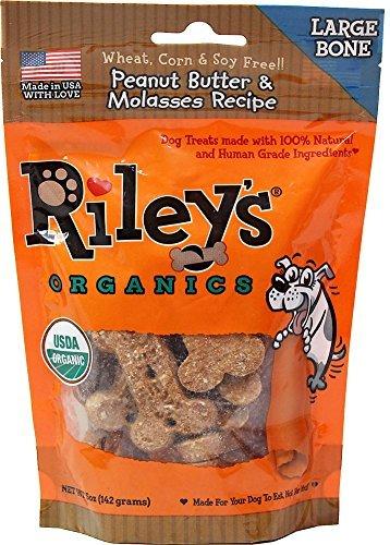 Rileys Organics, Dog Treat Peanut Butter Molasses Large Organic, 5 Ounce