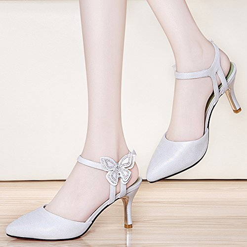 Sandals Feifei Women's Shoes PU Material Pure Color Fashion Fine with Pointed Single Shoes White Pink Optional (with High: 7CM) White 3OneT