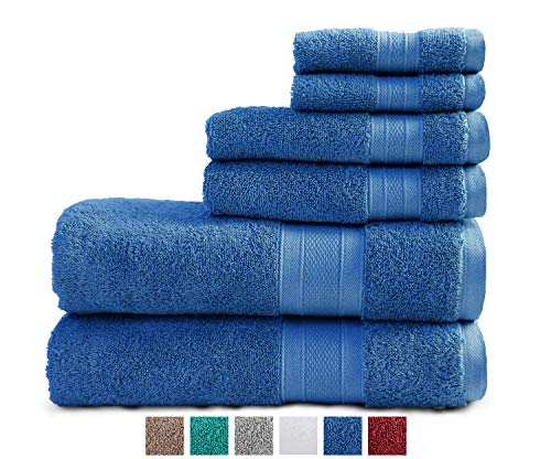 TRIDENT 100% Cotton Towels, 6 Piece Set - 2 Bath Towels, 2 Hand Towels, 2 Washcloths, Super Soft and Highly Absorbent, Soft & Plush Bath Towels, 14 lbs/dzn (Cobalt) (Bathroom Cobalt Blue)