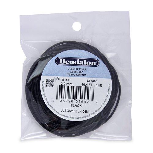 Beadalon Greek Leather 2.0mm Black, 5-Meter Black Greek Leather Cord
