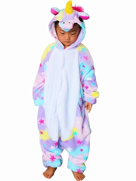 QQonsie Unicorn Kids Onesie Pajamas Children Animal Cosplay Halloween Costumes