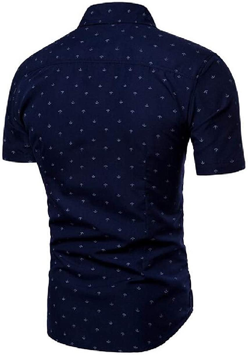 CBTLVSN Mens Polka Dots Short Sleeve Turn Down Collar Button Down Slim Shirt
