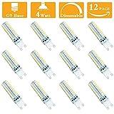 (Pack of 12) 4 Watt LED G9 Dimmable Light Bulb Replacement 35-40 Watt Halogen Bulbs, 4000K Natural White 120 Volt 400 Lumens 360 Degree G9 Base LED Light Bulb