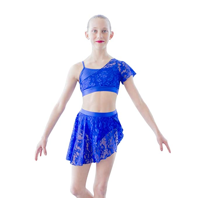 bb336e364ea4 HDW DANCE Young Girls Contemporary Lyrical Dance Lycra Crop Top Shorts Lace  Overlay: Amazon.ca: Clothing & Accessories