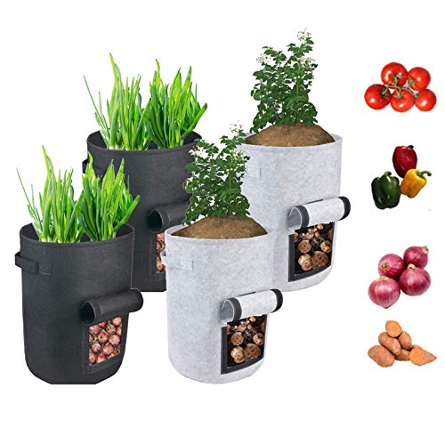 Grow Bags ,Potato Grow Bags with Flap,4 Pack Planter Pot with Handles and Harvest Window for Potato Tomato and Vegetables, Garden Flower,Black and Gray (5gallon)