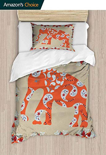 - Bedspread Set Queen Size, Elephant in Paisley Floral Drawing Style Traditional Ornament, Print, Decorative Quilted 2 Piece Coverlet Set with 1 Pillow Shams,47 W x 59 L Inches, Orange Red White