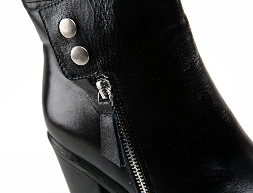 AmoonyFashion Womens Round-Toe Closed Toe High-Heels Boots With Platform and Zippers Black 6yz7QbQ