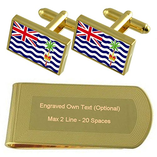 Gift Engraved Money Clip Cufflinks Indian Set Ocean Territory Gold tone British Flag OgqwxvR