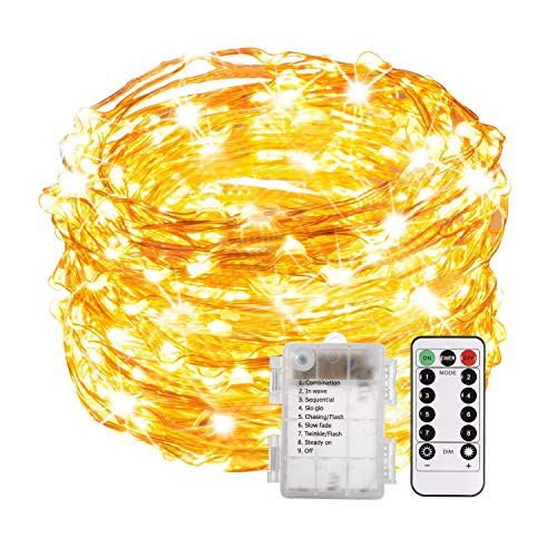 ALOVECO LED String Lights with Remote, 33ft 100 LED Fairy Lights Battery Operated, 8 Modes Waterproof Copper Wire Lights for Bedroom Party Wedding Christmas Outdoor Decoration