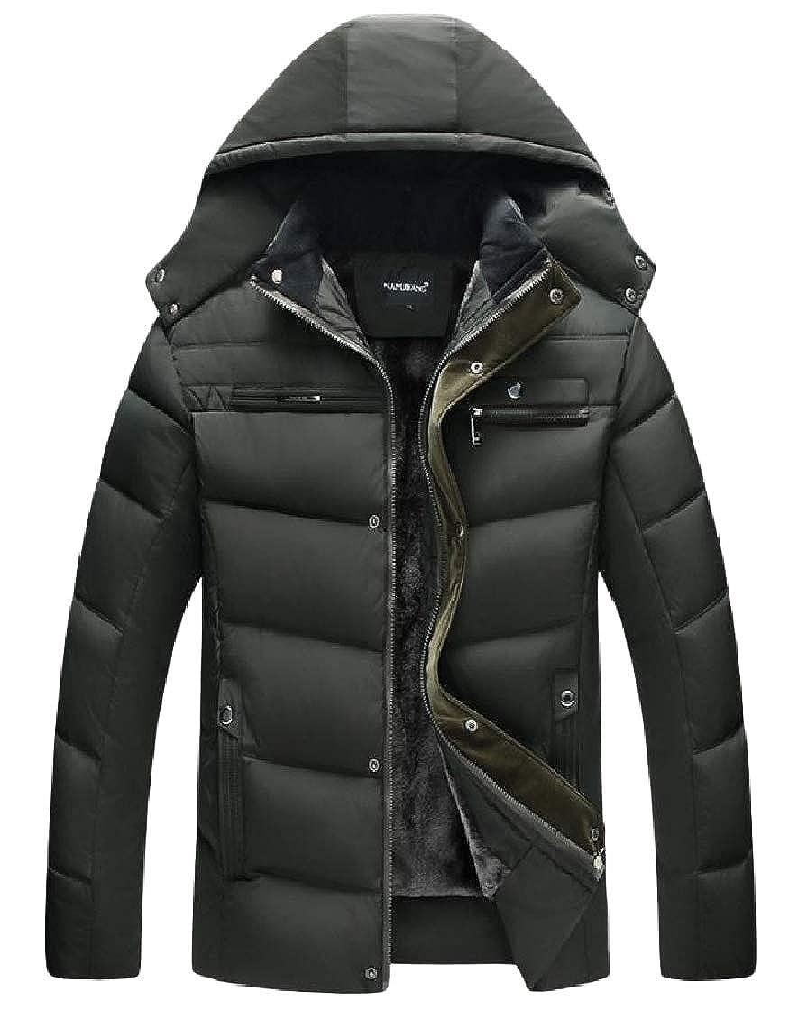 YUNY Mens Velvet Hood Zipper Pocket Solid Plus Size Warm Down Coat Pattern1 XL