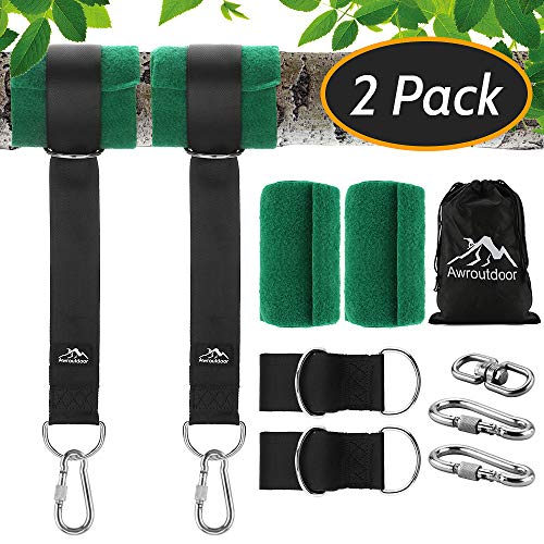 Tree Swing Hanging kit, 5000 lbs Tree Swing Hanging Straps Kit Two 5ft Double Layer Straps with Tree Protectors Carabiners Heavy duty for Swing Set and Hammock
