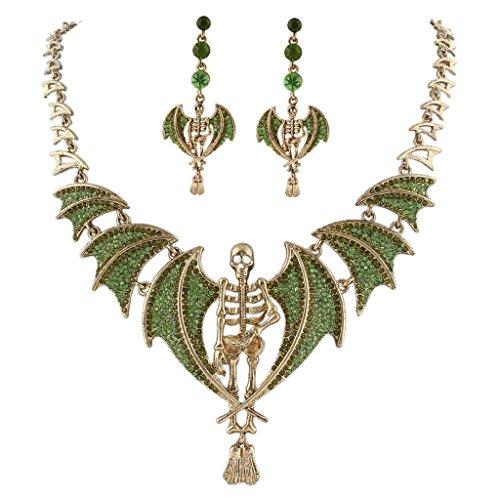 (EVER FAITH Vintage Style Skull Bat Necklace Earrings Set Austrian Crystal Gold-Tone - Green)
