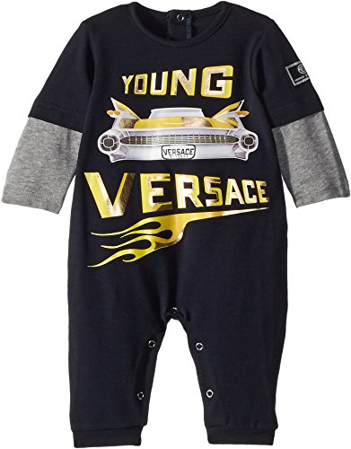 Versace Kids Baby Boy's Romper w/Car Graphic (Infant) Blue/Grey 1 - For Versace Infants