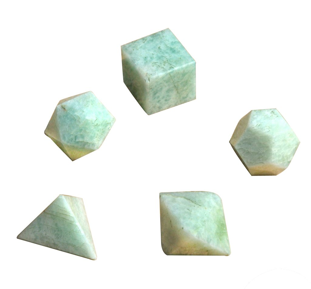 Crocon Amazonite Sacred Geometric 5 Pcs Set Stone for Meditation Crystal Healing Grids