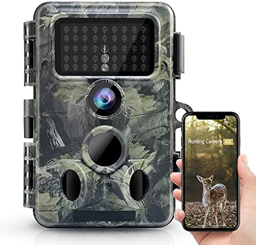 """4K 30MP WiFi Bluetooth Trail Camera No Glow Night Vision Ecovox Hunting Game Camera with 0.2s Trigger Time 120° Wide Angle IP66 Waterproof 2.4""""LCD Screen for Wildlife Monitoring"""