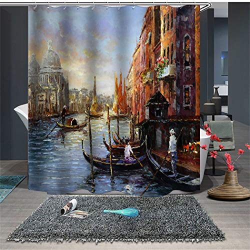 (Shower Curtain Set with Hooks Soap Mildew Resistant Oil Painting Venice Scenery Boats in River Bathroom Decor Machine Washable Antibacterial Polyester Fabric Bath Curtain 71 x 71 inches)