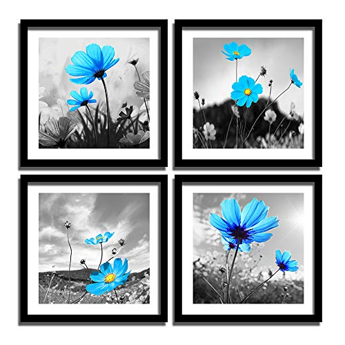 (ENGLANT 4 Panels Framed Flower Canvas Wall Art, Black White and Blue Canvas Prints, Abstract Painting Print Artwork, Nature Wall Décor for Home and Office 12x12inchx4 Pieces)