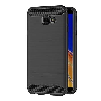 AICEK Funda Samsung Galaxy J4 Plus, Negro Silicona Fundas para Samsung J4+ Carcasa Galaxy J4+ Fibra de Carbono Funda Case (6,0 Pulgadas)