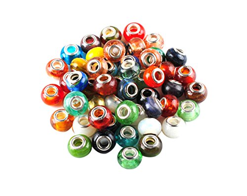 Murano Glass Beads for European Charms Bracelets Jewelry Making - Multi Color Large Hole Beads by Wadoy ()