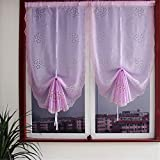 Abreeze 1 Panel Romantic Balloon Curtains Hollow Flowers Curtains Tie Up Shades Curtains 33″Wx92″L, Lavender Review