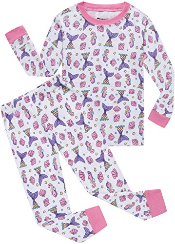 Girls Christmas Pajamas Children Seahorse Cartoon Sleepwear Kids Mermaid PJs Clothes Size 8
