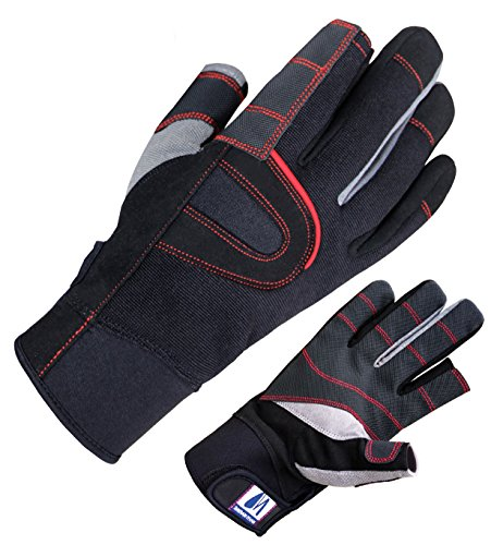 Navis Marine Sailing Gloves Special Palm Multi-sport for All Water Sport Bowing Fishing Kayaking 3/4 Finger (Black, L) ()