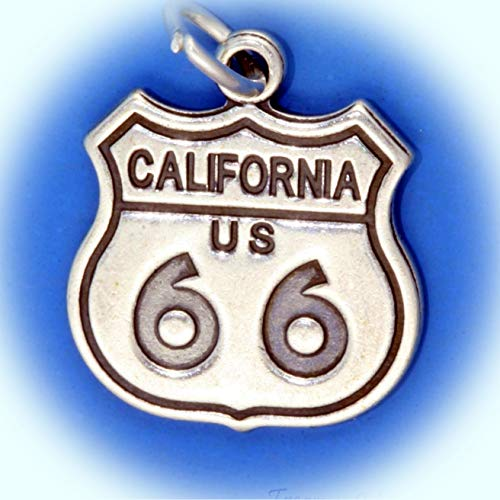 (California Historic Route 66 Highway Sign .925 Sterling Silver Charm Pendant Vintage Crafting Pendant Jewelry Making Supplies - DIY for Necklace Bracelet Accessories by)