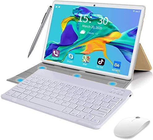 2 in 1 Tablets 10 Inch, Android 9.0 Tablet PC with Wireless Keyboard Case, 4GB RAM 64GB ROM/128GB Computer Tablets, Quad Core, HD/IPS, 8000mAh, 13MP Dual Camera, Dual 4G / WiFi GPS Google Store (Gold)