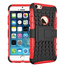 For iPhone 6 Plus / iPhone 6S Plus, Urvoix(TM) Hybrid Heavy Duty Dual Layer Shock Proof Rugged Shell Grenade Grip Tyre Kickstand Case Cover for 5.5'' iPhone 6Plus/6SPlus (NOT for iPhone6) Red